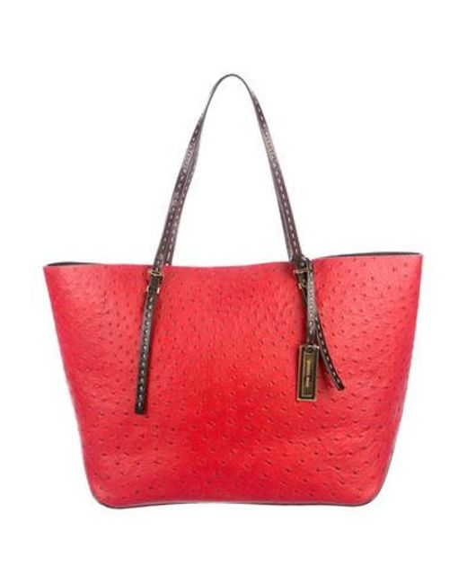 a3f753d8c9dd9e Michael Kors - Metallic Embossed Leather Tote Red - Lyst ...