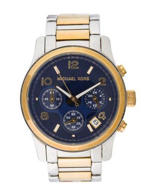 f4e4dfba3469 Michael Kors - Metallic Two-tone Runway Chronograph Watch for Men - Lyst ...