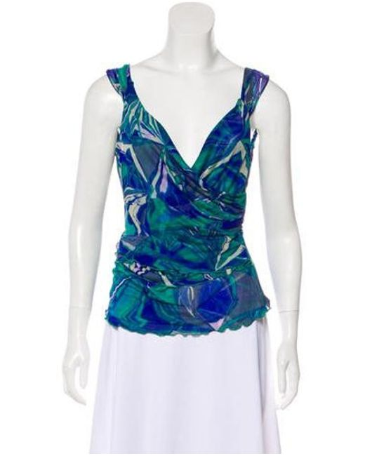 533036adfa9202 Diane von Furstenberg - Blue Silk Printed Top Multicolor - Lyst ...