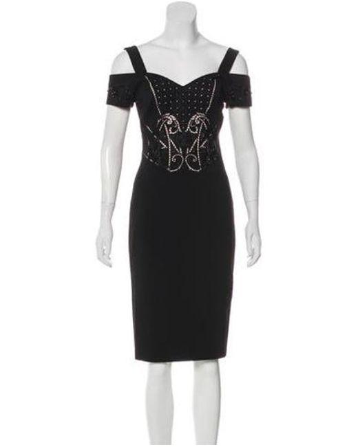Lyst Karen Millen Cold Shoulder Knee Length Dress W Tags In Black