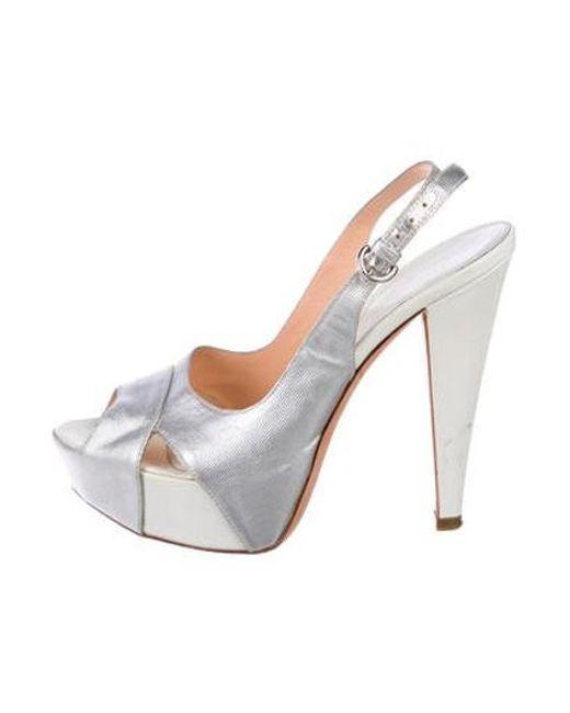 3021d7289252 Sergio Rossi - Metallic Platform Sandals Silver - Lyst ...