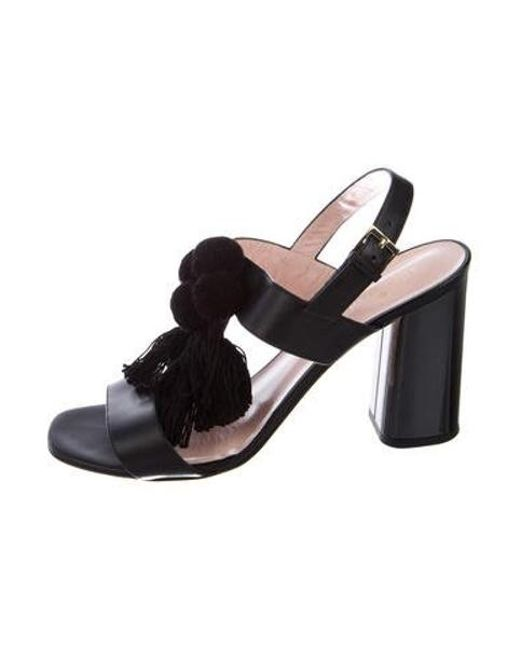 328479c690fc Kate Spade - Black Pom-pom Leather Sandals - Lyst ...