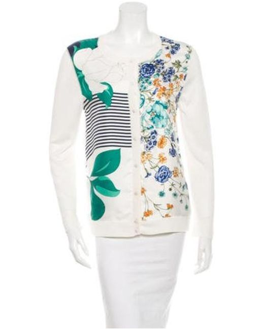Nina Ricci - White Floral Silk Cardigan Multicolor - Lyst