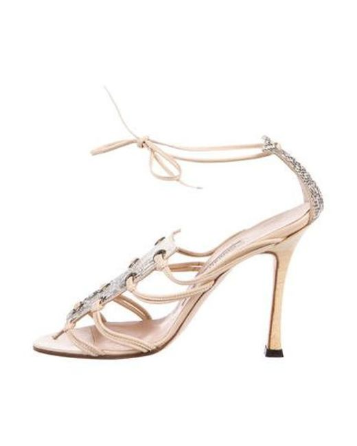 ac5ec60dce42 Manolo Blahnik - Brown Snakeskin Lace-up Sandals - Lyst ...