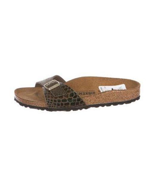 d6069fb55209 Birkenstock - Brown Embossed Leather Slide Sandals - Lyst ...