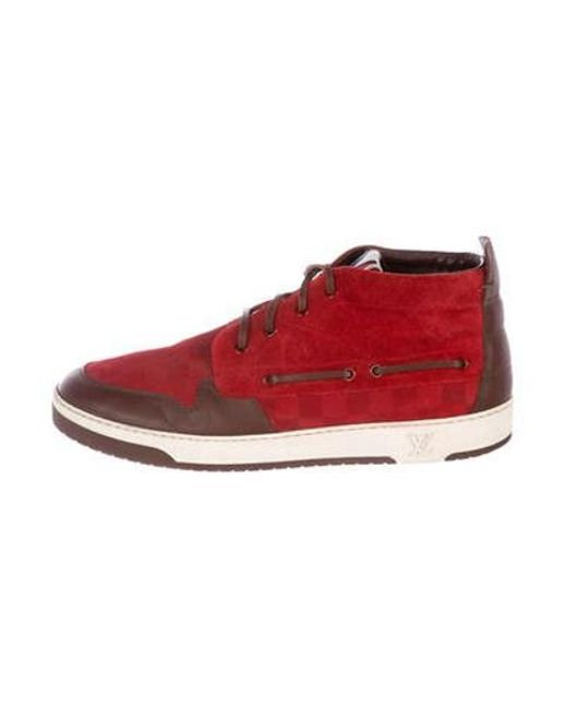 be8a7a4f00d Louis Vuitton - Red Suede Damier Chukka Sneakers for Men - Lyst ...