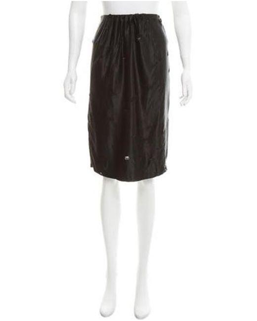 Miu Miu - Black Miu Distressed Knee-length Skirt - Lyst