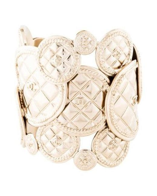 7b2dcd25802 Lyst - Chanel Cc Quilted Cuff Gold in Metallic - Save ...