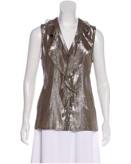 a3a1f0317e1a5 10 Crosby Derek Lam - Metallic Silk Sleeveless Top Gold - Lyst ...