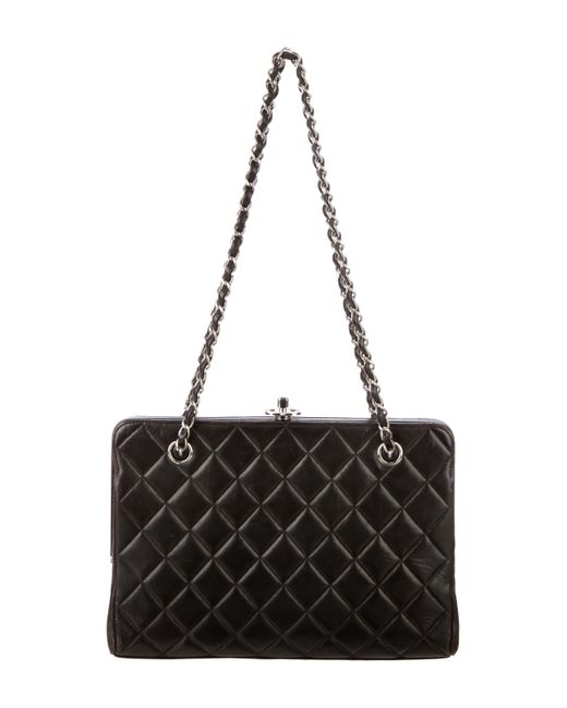 Lyst - Chanel Quilted Lambskin Frame Bag Black in Metallic