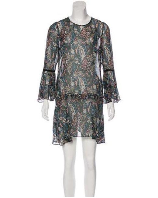 caaff03b164 Veronica Beard - Green Silk Printed Mini Dress - Lyst ...