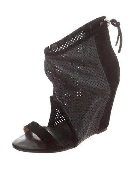 fb66053bea48 ... IRO - Black Leather Round-toe Wedges - Lyst ...