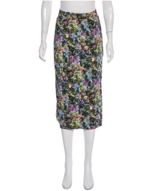 820960de7 Cushnie et Ochs - Green Floral Print Midi Skirt W/ Tags - Lyst ...
