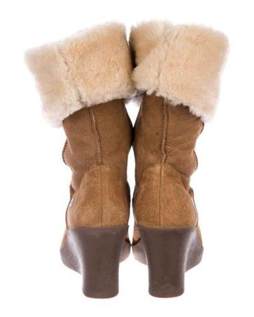 1b63a5846a9 ... Ugg - Brown Shearling Wedge Boots - Lyst