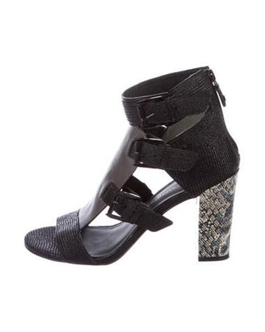 8fa0c2d8190 Rebecca Minkoff - Gray Embossed Leather Cage Sandals Black - Lyst ...