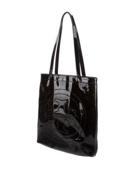 f9b0b4081271 ... Tory Burch - Metallic Patent Leather Tote Black - Lyst ...