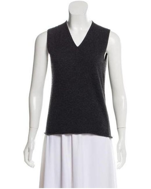 7fbce38a35043 Chanel - Gray Cashmere Sleeveless Top - Lyst ...