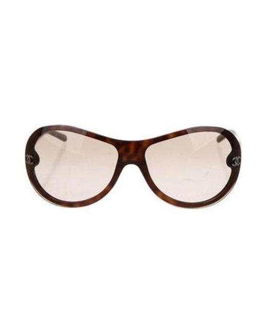6a4dc7f3c9954 Chanel - Metallic Shield Cc Sunglasses Brown - Lyst ...