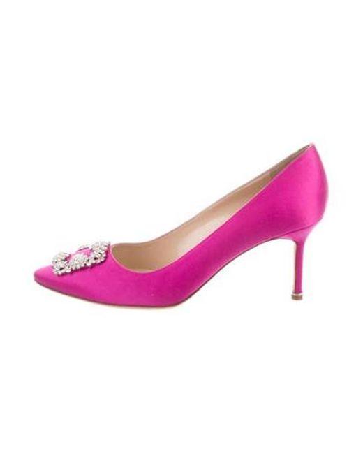 8cee1c653a93 Manolo Blahnik - Pink Satin Hangisi Pumps - Lyst ...