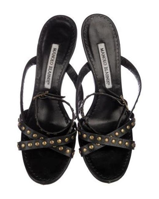 2b77f528848a ... Stuart Weitzman - Black Leather Studded Sandals - Lyst ...