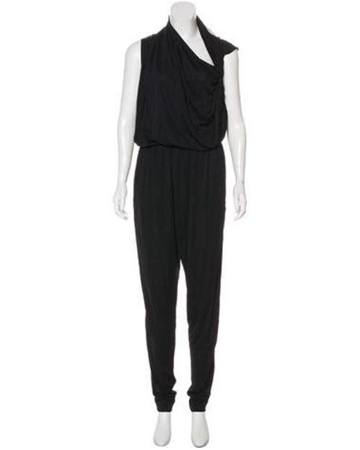 83ae3fda9d41 Lanvin - Black Draped Sleeveless Jumpsuit - Lyst ...