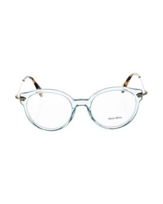 2945db226cb5 Miu Miu - Blue Miu Logo Round Eyeglasses - Lyst ...