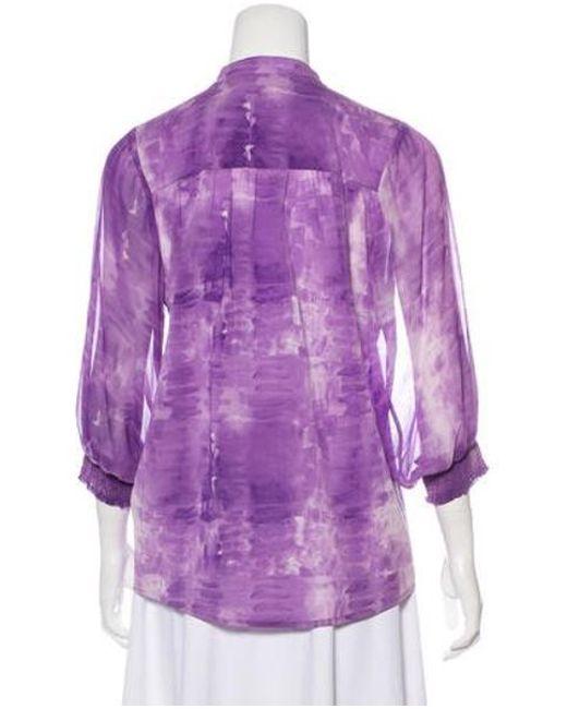 a3fca55f95e704 ... Alice + Olivia - Purple Long Sleeve Silk Blouse - Lyst