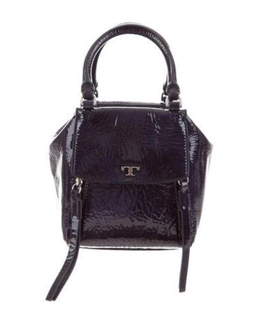d4bbde51769b Tory Burch - Metallic Half-moon Leather Satchel Blue - Lyst ...