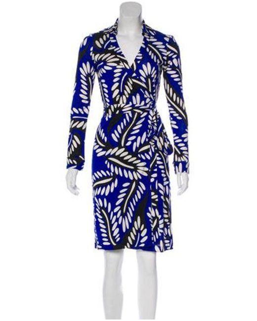 79df4e863ca53 Diane von Furstenberg - Blue Silk New Jeanne Two Long Sleeve Dress - Lyst  ...