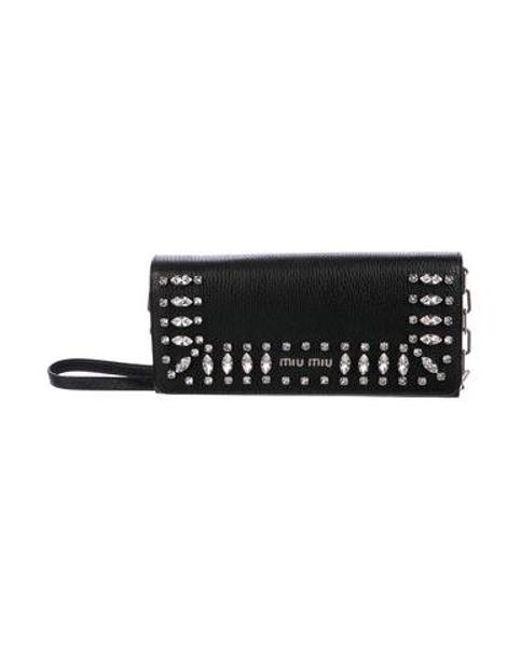 798dd1f99341 Miu Miu - Metallic Miu Crystal-embellished Wallet On Chain Black - Lyst ...