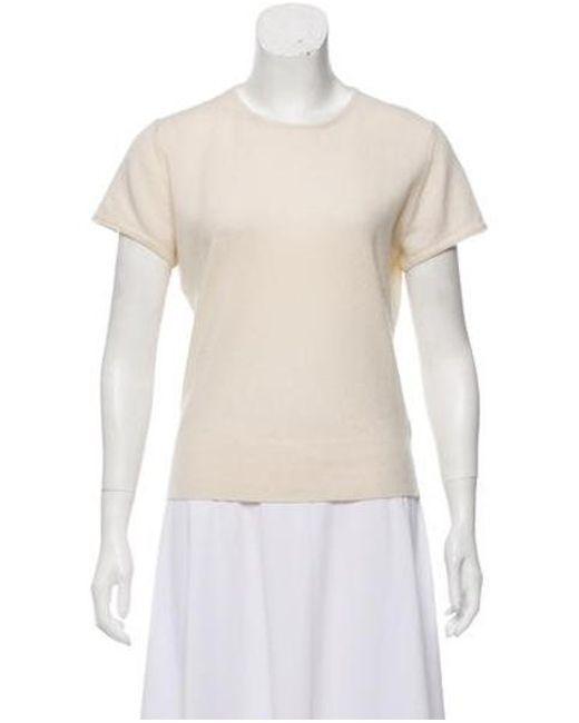 Naeem Khan - Natural Cashmere Short Sleeve Top Neutrals - Lyst