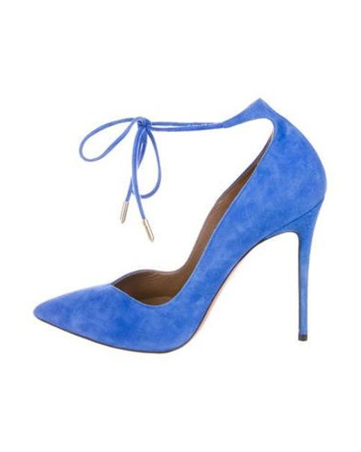 fec3e4982aba Aquazzura - Blue Suede Pointed-toe Pumps - Lyst ...
