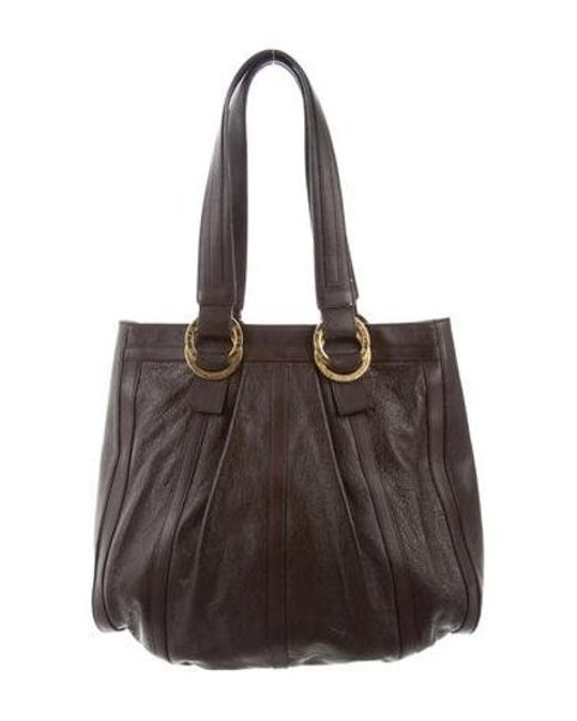 644b80c3d569 BVLGARI - Metallic Textured Leather Tote Brown - Lyst ...