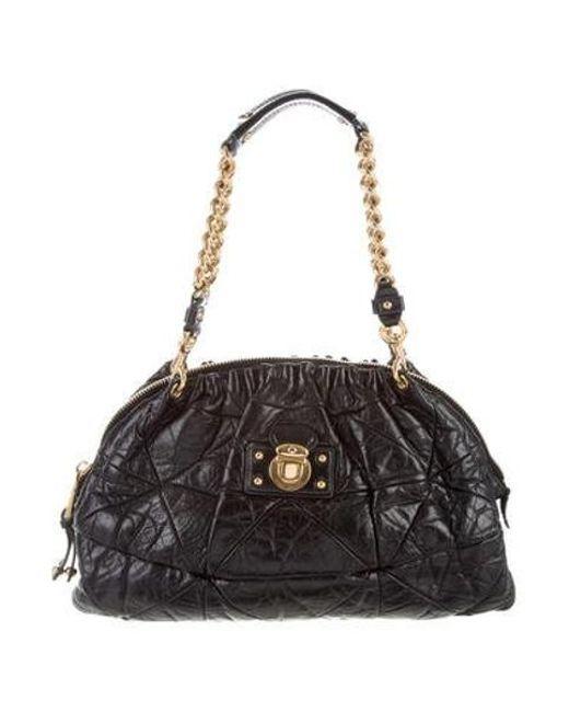 448751d7900 Marc Jacobs - Metallic Quilted Leather Shoulder Bag Black - Lyst ...