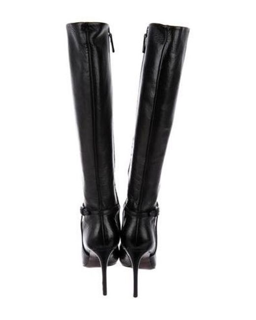 c09370f8514 ... Tory Burch - Black Leather Knee-high Boots - Lyst