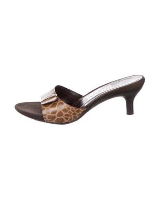 9f5e9b0deb2 Ferragamo - Metallic Leather Embossed Sandals Brown - Lyst ...