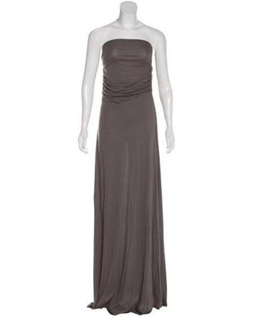 Gray Strapless Maxi Dress