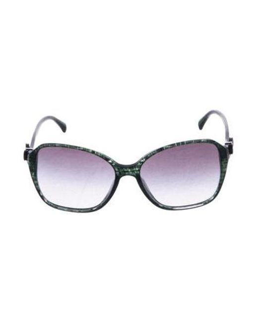 db418f0bf765 Chanel - Metallic Cc Bow Sunglasses Green - Lyst ...