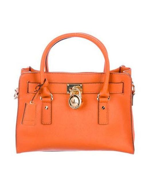 f9cd4f0f48e0 MICHAEL Michael Kors - Metallic Michael Kors Hamilton Leather Bag Orange -  Lyst ...