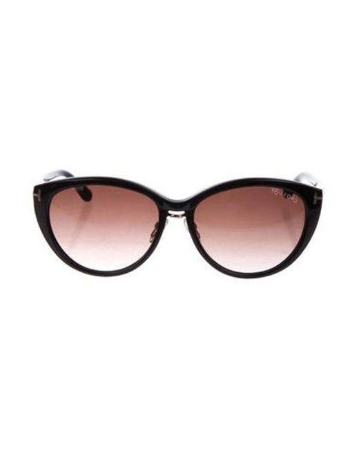8b6db8992f3f2 Tom Ford - Metallic Gina Cat-eye Sunglasses Black - Lyst ...