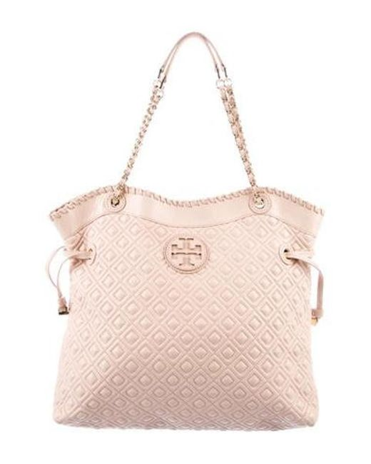 20b5d908542b Tory Burch - Metallic Quilted Stacked Tote Pink - Lyst ...
