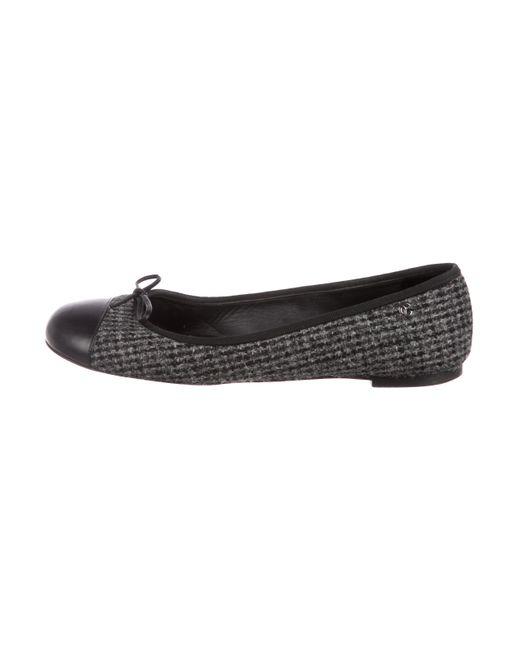 Chanel - Gray Cc Tweed Flats Grey - Lyst