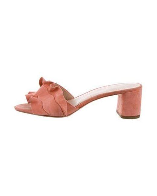 3038af8e885 Loeffler Randall - Pink Ruffle-trimmed Slide Sandals - Lyst ...