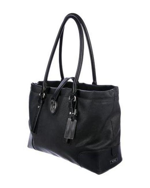 1a70f23b2f ... Tumi - Metallic Leather-trimmed Tote Bag Black - Lyst ...