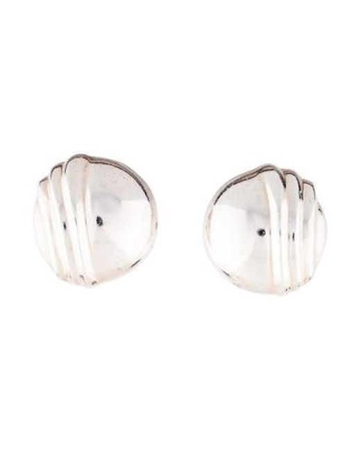 Tiffany Co Metallic Vintage Round Ridged Clip On Earrings Silver