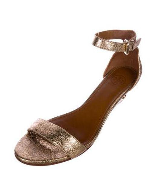 51ff9d8fa ... Tory Burch - Metallic Savannah Wedge Sandals - Lyst ...
