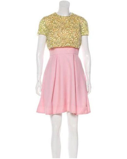 Womens Yellow Lace Paneled Mini Dress Pink