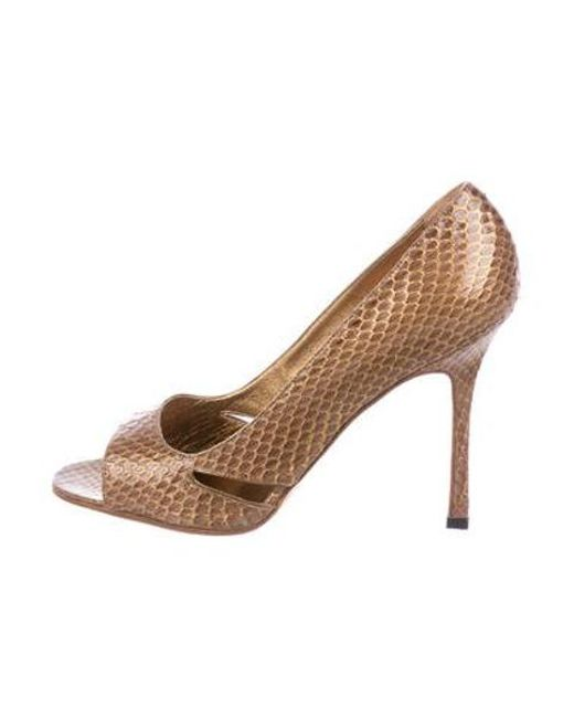 8a4ea0b5615e Manolo Blahnik - Metallic Snakeskin Peep-toe Pumps Brown - Lyst ...