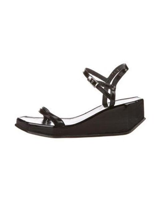 adfb96ebc92f Robert Clergerie - Black Patent Leather Platform Wedges - Lyst ...
