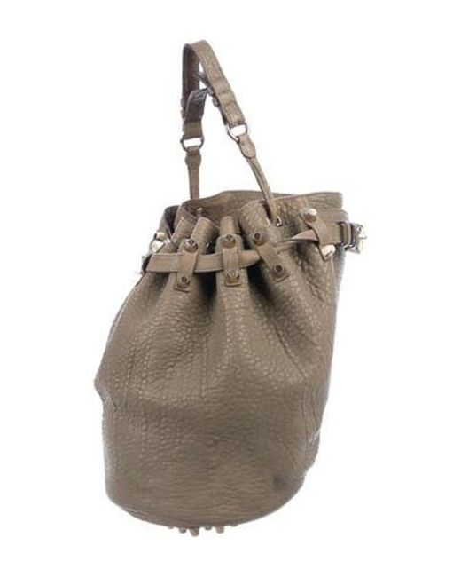 0140cfde33b132 ... Alexander Wang - Metallic Diego Leather Bucket Bag Olive - Lyst ...